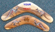 Hand painted timber boomerangs with logo