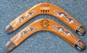 Hand painted plywood boomerangs with logo