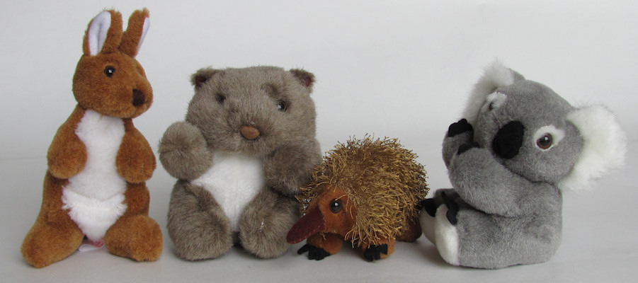 Australian animals small toys from Oz Beanz toy collection