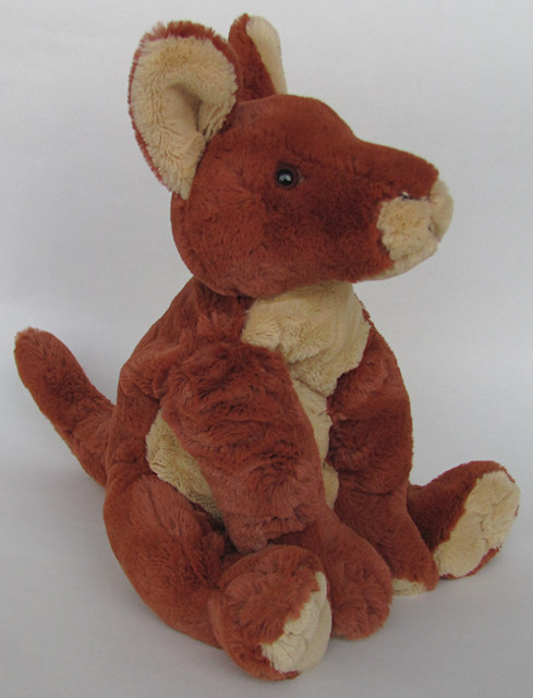 Kangaroo soft toy from the left