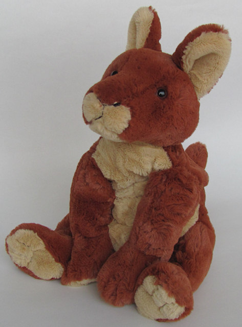 Kangaroo soft toy from the right