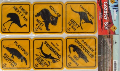 Road sign coasters - Australian animals